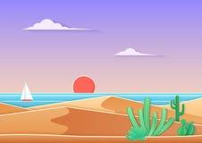 在沙漠风景的在时髦梯度纸的仙人掌与海和船cuted艺术样式 在海洋日落附近的沙漠 库存图片