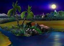 在沙漠绿洲的两棵棕榈树 晚上 免版税库存图片