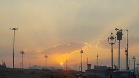 在沙特阿拉伯日落的Madinah 免版税库存照片