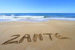 在海滩写的Zante 免版税库存图片