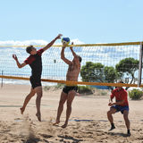 在沙滩排球的城市竞争 免版税图库摄影