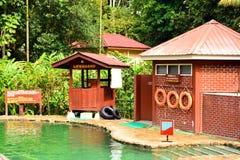 在沙巴,马来西亚的熟读的温泉游泳池 免版税图库摄影