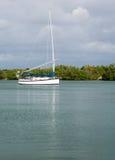 在没有命名港口停泊的游艇佛罗里达 库存照片