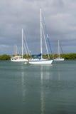 在没有命名港口停泊的游艇佛罗里达 图库摄影