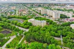 在没有的学校的鸟瞰图 30 秋明州 俄国 免版税库存照片