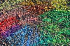在沥青的抽象白垩绘画,地面 库存图片