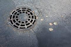 在沥青街道的圆的下水道人孔盖 免版税库存图片
