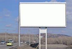 在河上的桥的广告牌 免版税库存图片