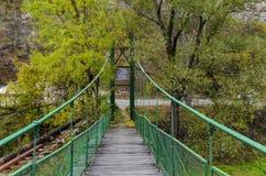在河伊斯克尔在秋天,伊斯克尔污蔑, Lakatnik的垂曲线桥梁 图库摄影