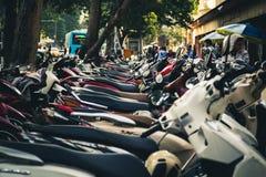 在河内停放的滑行车,越南 免版税库存照片