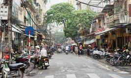 在河内老处所的街道 免版税库存图片