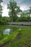 在河和高大的树木的桥梁 库存图片
