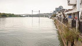 在河唐的两座桥梁在顿河畔罗斯托夫 库存照片