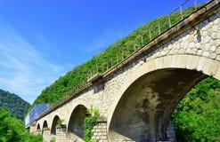在河培训的桥梁 免版税库存图片