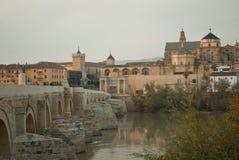 在河导致科多巴镇的瓜达尔基维尔河的美丽的罗马桥梁在安大路西亚 库存照片