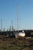 在河岸河Wyre的小船 免版税图库摄影