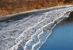在河岸的冰形成在秋天 免版税库存图片