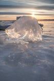 在河岸的冰 库存照片