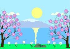 在河岸的开花的樱桃 免版税库存照片