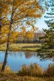在河岸的秋天横向 免版税库存图片