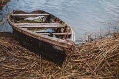 在河岸的老小船春天的 库存图片