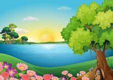 在河岸的鲜花在树上小屋附近 免版税库存图片