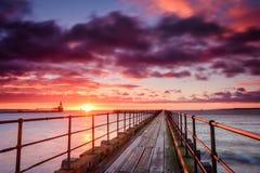 在河布莱斯港口的日出 免版税库存图片