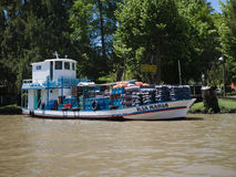 在河床队三角洲的小船,阿根廷 免版税库存图片
