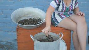 在河捉住的活小龙虾在露天的arge铝平底锅被烹调 妇女在平底深锅和盐水投入莳萝 影视素材