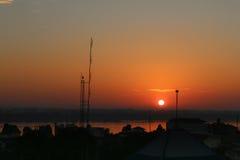 在河日出的湄公河 图库摄影