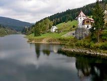 在河易北河的捷克水坝 图库摄影