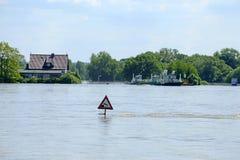 在河易北河,德国的洪水2013年 库存照片