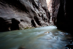 在河流里面的峡谷 图库摄影