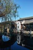 在河的一座小桥梁 库存图片