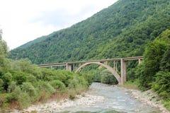 在河的一座桥梁离Biogradska Gora,黑山不远 免版税库存图片