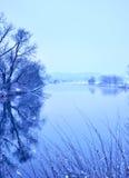 在河的冬天场面 免版税库存照片