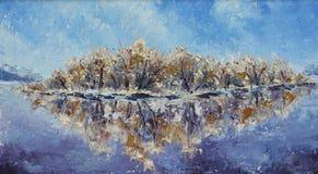 在河的冷淡的早晨,油画 库存图片