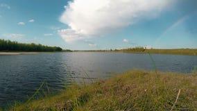 在河的夏天晴天 背景蓝色云彩调遣草绿色本质天空空白小束 股票视频
