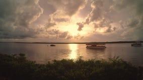 在河的小船日落的,Timelapse 影视素材