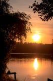 在河的日落 免版税图库摄影