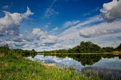 在河的春日 库存图片