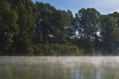 在河的有雾的早晨风景。 免版税库存照片