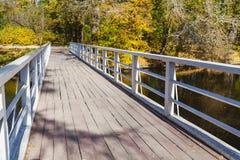 在河的木人行桥每明亮的秋天天 库存图片