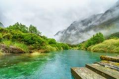 在河的木桥山的在雨中,新西兰10 库存照片