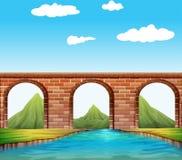 在河的桥梁 库存例证