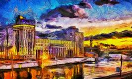在河的油画日落在城市 免版税图库摄影