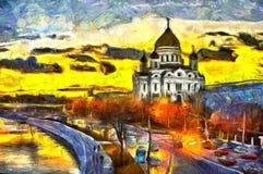 在河的油画日落在寺庙附近的城市 图库摄影