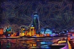 在河的油画都市风景在日落以后 库存照片