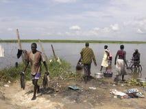 在河的生活在南苏丹 图库摄影