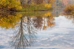 在河的秋天,年的美好的时光 免版税图库摄影